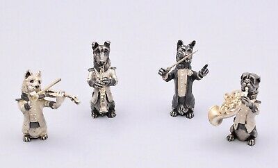 Amazing Set Of 4 Solid Silver Musicians Dog Band