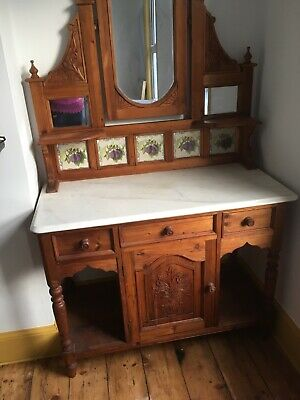 Beautiful decorative pine dresser with mable top (vintage home furniture)