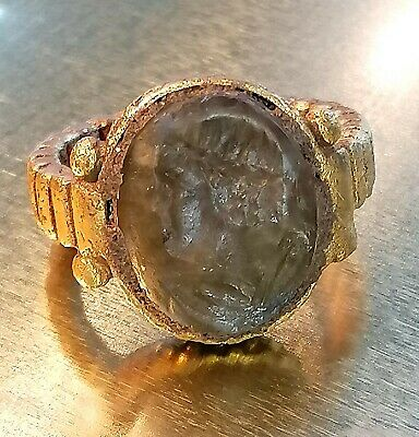 Scarce Ancient ROMAN INTAGLIO Gold P. Ring