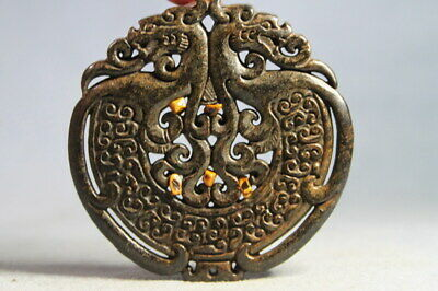 Collectable Antique Handwork Wonderful Jade Carved Blessing Exquisite Pendant
