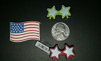 Jibbitz American Flag, Red Stars, Yellow Stars crocs shoe charms USA   NEW