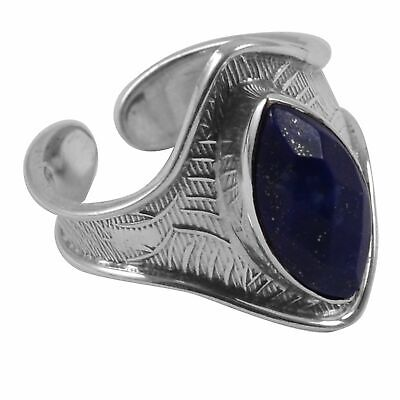 Faceted-Lapis Lazuli Solid 925 Sterling Silver Ring  Jewelry Size-Adjustable AR-