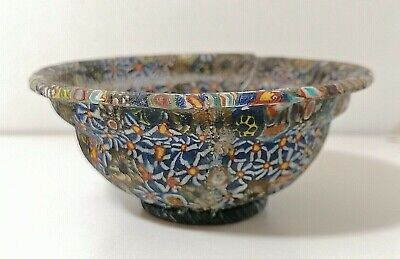 Antique Ancient Byzantine Mosaic Glass Bowl