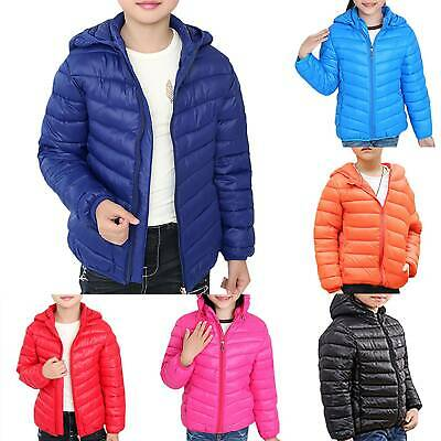 Kids Girls Boys Padded Quilted Winter Coat Jackets Puffer Hooded Warm Long Parka