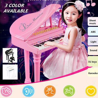 31 Key Kid Electronic Keyboard Mini Grand Piano Stool Microphone Musical Toys