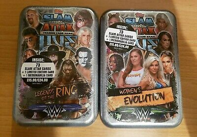 WWE Topps Slam Attax Live 2018 Tin x2 Memorabilia Limited Cards - New & Sealed