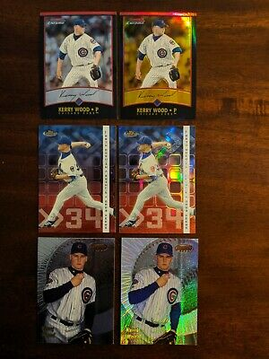 Kerry Wood Gold Refractor, 2 Refractors, 3 base cards. Chicago Cubs.