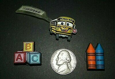 Authentic Jibbitz School Bus, Crayons Colors, ABC Blocks Croc shoe charms Rare!