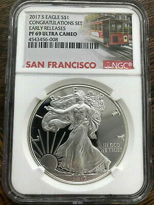 2017 S $1 Silver American Eagle 1 oz NGC PF 69 Congratulations Set Early Release