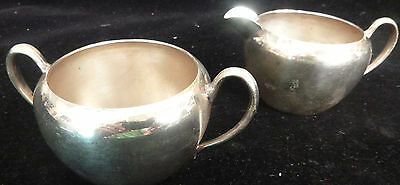 VINTAGE NATIONAL SILVER CO. - SILVER ON COPPER #1087 CREAMER and SUGAR BOWL