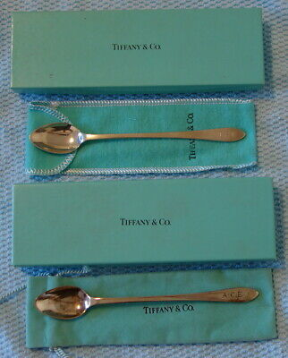 2 Tiffany & Co. 925 Sterling Silver Baby Spoons w/ Boxes and Pouches Monogrammed