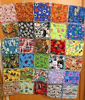 """BOYS RAG QUILT I SPY Colorful Learning 30 Different Squares 34"""" x 42"""" Handmade"""