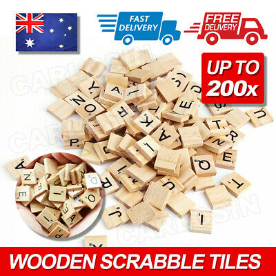 200pcs Wooden Scrabble Letters Alphabet Tiles Letters & Numbers For Game &Crafts