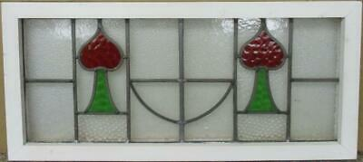 "OLD ENGLISH LEADED STAINED GLASS WINDOW TRANSOM Pretty Spades 31.75"" x 14.5"""