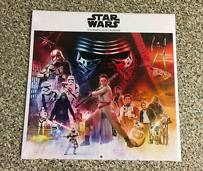 STAR WARS -2020 Wall Calendar-Colorful 16 Month-Official Disney-Double Time NIP