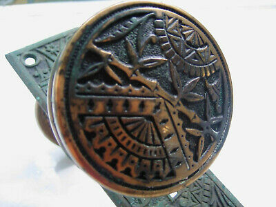 Victorian Bronze Doorknobs and Backplates Set Incredible and Scarce
