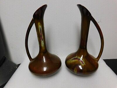 "2 Dryden Ozark Frontier pottery bud vase home decor 11 1/2"" tall collectible"
