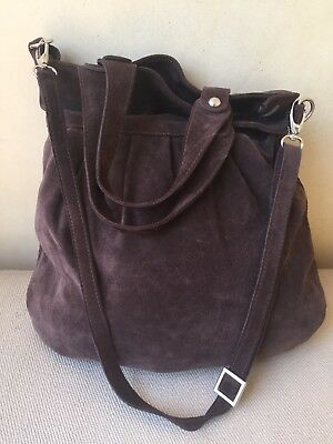 Giudit Genuine Brown Suede Leather Hobo Bag Purse Made In Italy Long Short Strap