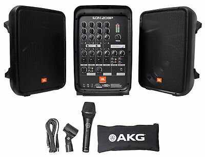 """JBL EON208P (2) 8"""" Church Speakers+Bluetooth+Mixer+Mic For Church Sound Systems"""