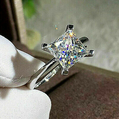 Solid 14k white Gold 2.55 ct Princess cut Solitaire Diamond Engagement Ring