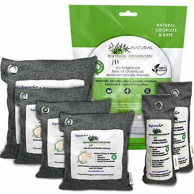 Natural Bamboo Air Purifier Deodorizer Bags 6 Pack 100% Activated Charcoal Car