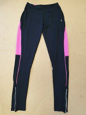 Ee792 Womens Karrimor Run Black Pink Stretch Slim Running Leggings Uk 10 W28 L30