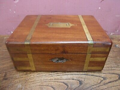 Antique Brass Bound Mahogany Military Campaign Accessories Gentleman's Box