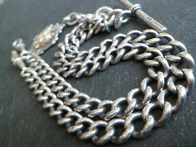 60g 104YO ANTIQUE SOLID SILVER DOUBLE ALBERT POCKET WATCH CHAIN + 9ct GOLD FOB