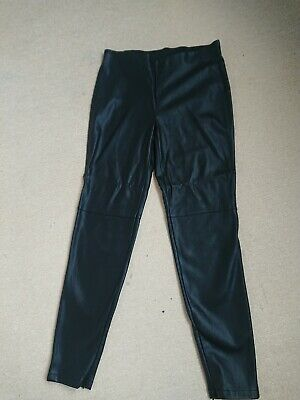 Dorothy Perkins PVC Black Leather Look Trousers Size 10