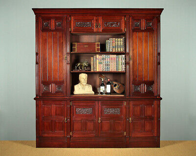 Antique Very Large Walnut Bookcase Cabinet by Gillow & Co. c.1880.