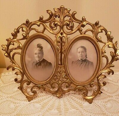 Antique Victorian  Bronze Cast Iron Easel Back  Double Oval Photo Frame NB & IW