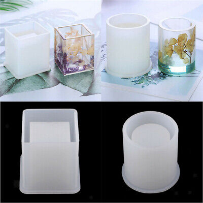 DIY Silicone Mold Brush Pot Epoxy Resin Mould Pen Holder Office Making Craft New
