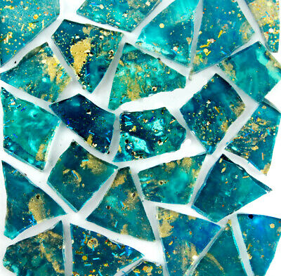 100 pieces TEAL with METALLIC GOLD and Glitter Mosaic Art Glass by Makena Tile
