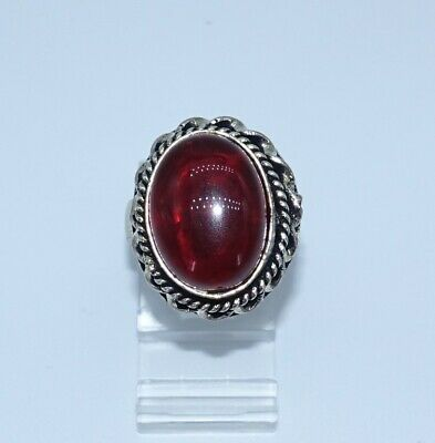 old Size Adjustable Hot RED Glass Silver plated Vintage Ring Chunky big