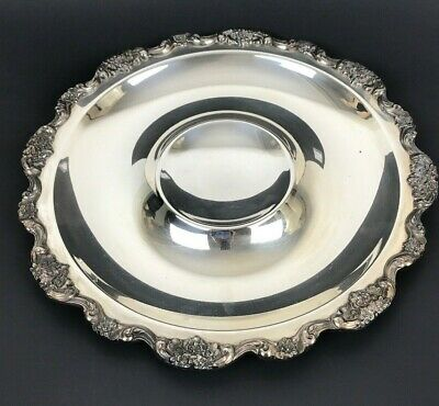 """EPCA Silver-plate By Poole 15"""" Round Dip Platter 437"""