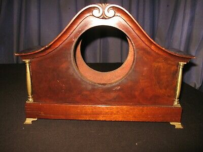 Antique Mahogany Mantle Shelf Clock Case Brass Feet Pillars Columns Carved