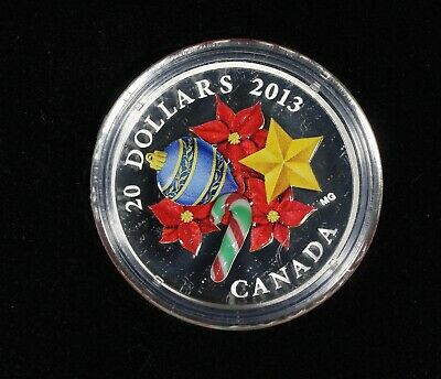 2013 Canada Murano Venetian Glass CANDY CANE 1oz .9999 Proof Silver Coin