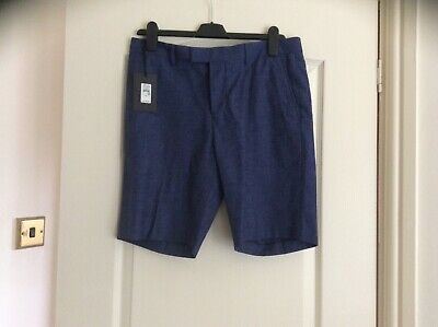 BNWT River Island mens tailored slim fit blue shorts size 32R