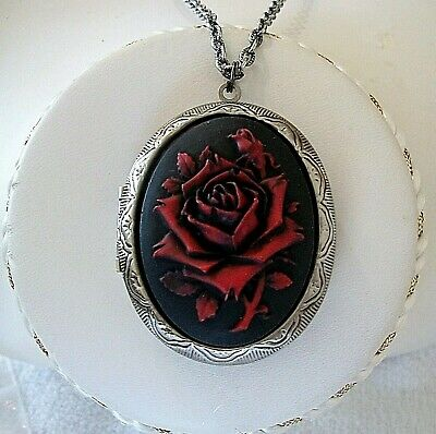 RED ROSE Painted CAMEO Antique Silver Pltd LOCKET NECKLACE - Vtg Victorian Insp