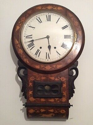 Large, profusely inlaid Mahogany Drop Dial American wall clock, full working