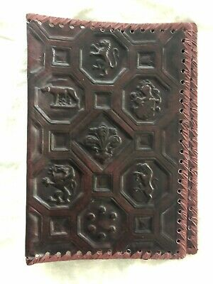 Vintage Burgundy Italian Hand Tooled Leather Book Cover Moire Lining. Never Used