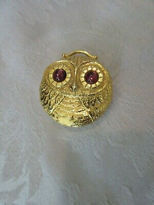 Revlon Gold tone Owl Intimate  Solid Perfume with Jeweled Eyes