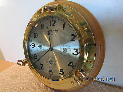 Large, Brass Porthole Clock & Weather Station