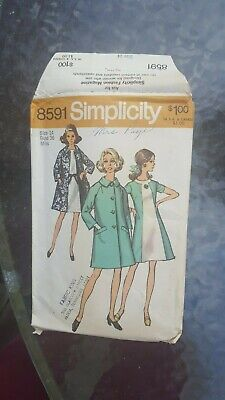 Vintage 1969 Simplicity Sewing Pattern: Lady's Coat And Dress (Sz 14) #8591