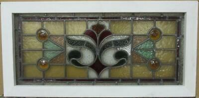 """VICTORIAN ENGLISH LEADED STAINED GLASS WINDOW Gorgeous Abstract 30.5"""" x 15"""""""