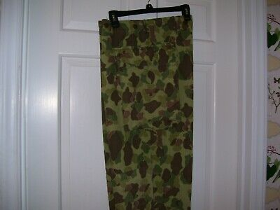 WWII QM Issue Army Camouflage HBT Trousers with QM Tag & Cutter Tag (34X31)