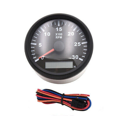 Auto Tachometer Gauge 6000RPM  9V-32V White Face Stainless For Gas//Diesel Engine