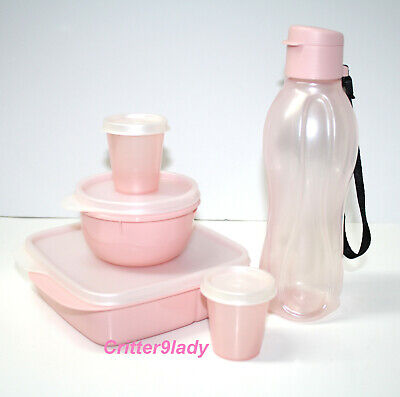 NEW Tupperware Blushing Pink Lunch Set Divided Dish Eco Bottle Midgets