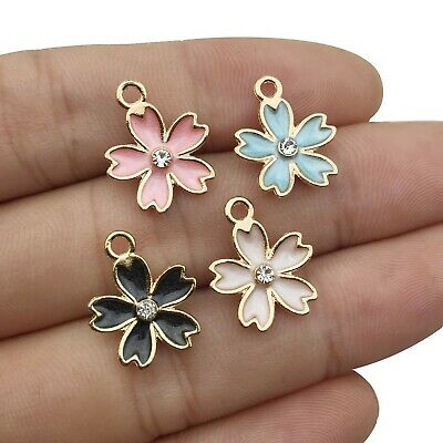 10X Mixed Color Enamel Crystal Flower Charm Pendant For DIY Earrings Jewelry