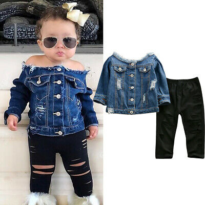 USA Toddler Kids Baby Girls Clothes Denim Tops Hole Pants Leggings Outfits 1-6Y